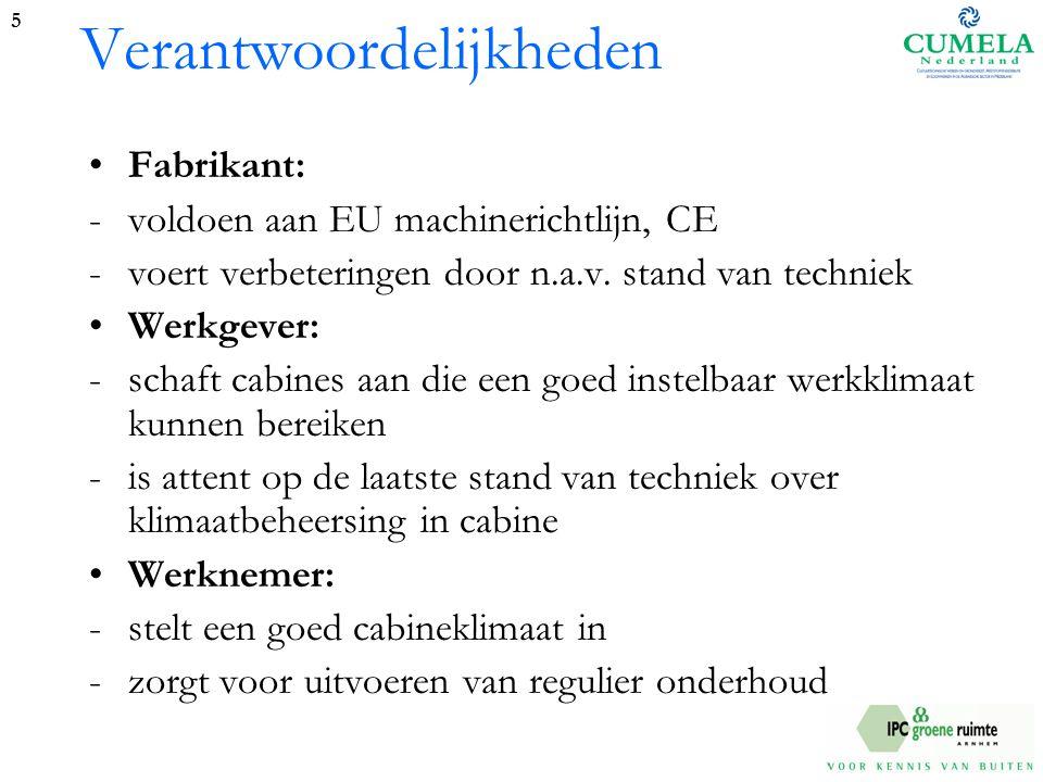 Verantwoordelijkheden Fabrikant: -voldoen aan EU machinerichtlijn, CE -voert verbeteringen door n.a.v.
