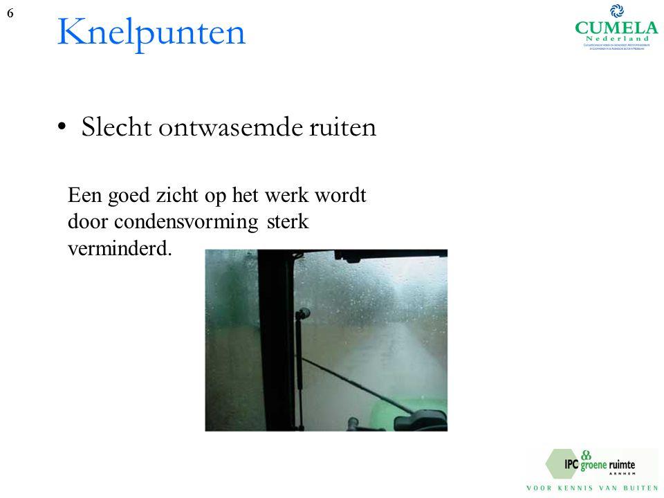 Knelpunten Slecht ontwasemde ruiten 6 Een goed zicht op het werk wordt door condensvorming sterk verminderd.