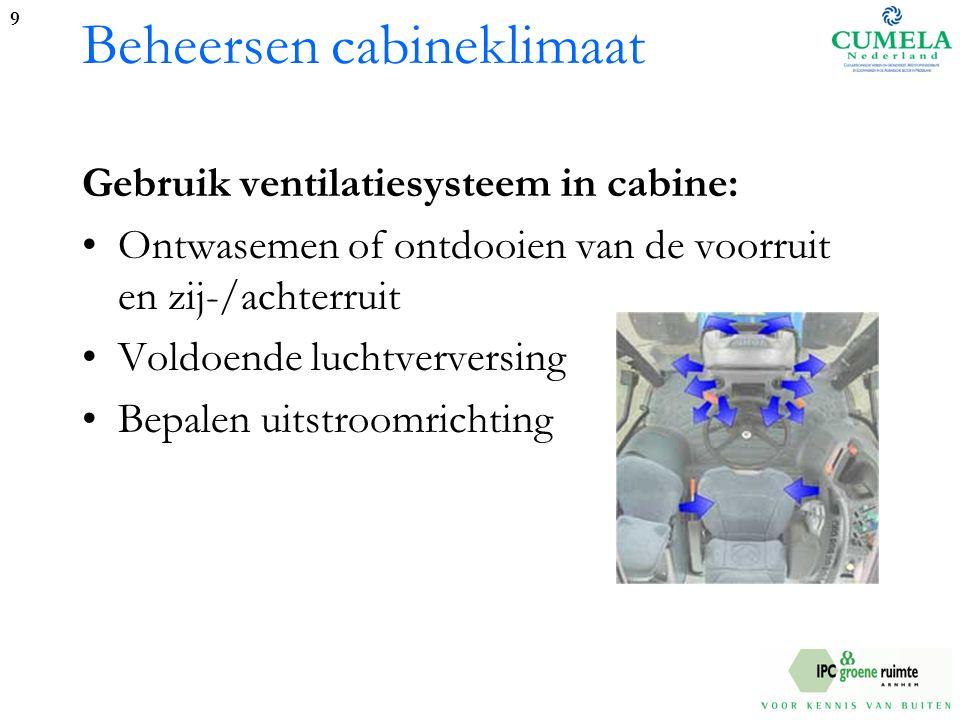 Beheersen cabineklimaat Gebruik ventilatiesysteem in cabine: Ontwasemen of ontdooien van de voorruit en zij-/achterruit Voldoende luchtverversing Bepalen uitstroomrichting 9