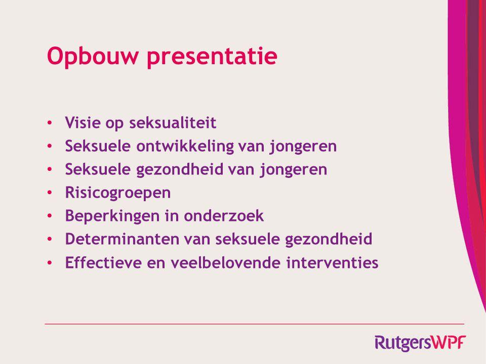 Opbouw presentatie Visie op seksualiteit Seksuele ontwikkeling van jongeren Seksuele gezondheid van jongeren Risicogroepen Beperkingen in onderzoek De
