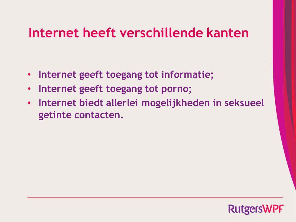 Internet heeft verschillende kanten Internet geeft toegang tot informatie; Internet geeft toegang tot porno; Internet biedt allerlei mogelijkheden in
