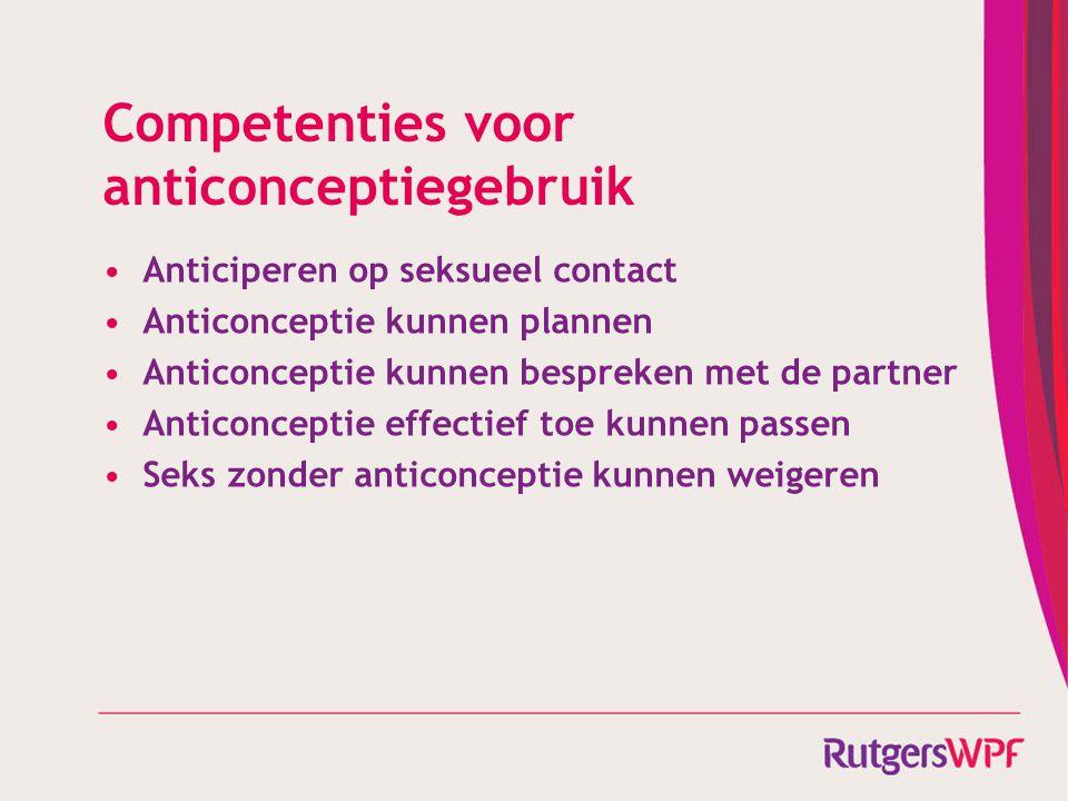 Competenties voor anticonceptiegebruik Anticiperen op seksueel contact Anticonceptie kunnen plannen Anticonceptie kunnen bespreken met de partner Anti