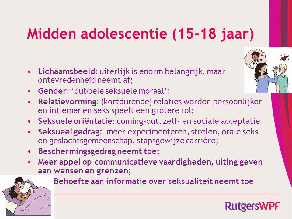 De context Rond puberteit snelle lichamelijke veranderingen; Hersenontwikkeling: impulsief zonder gevolgen van daden goed te kunnen overzien, neemt langzamerhand af; Identiteit: gevoelig voor sociale druk, langzamerhand steeds beter weten wat je zelf wilt; Relatie met ouders langzamerhand gelijkwaardiger, meer autonomie, meer conflicten; Nederlandse ouders accepteren over het algemeen dat jongeren seks hebben 'als ze hier aan toe zijn'; Partner steeds belangrijkere bron van sociale steun; Zeer hoog gebruik van internet (informatie, sociale media); Vanaf 18 jaar: volwassen, maar weinig verantwoordelijkheden.