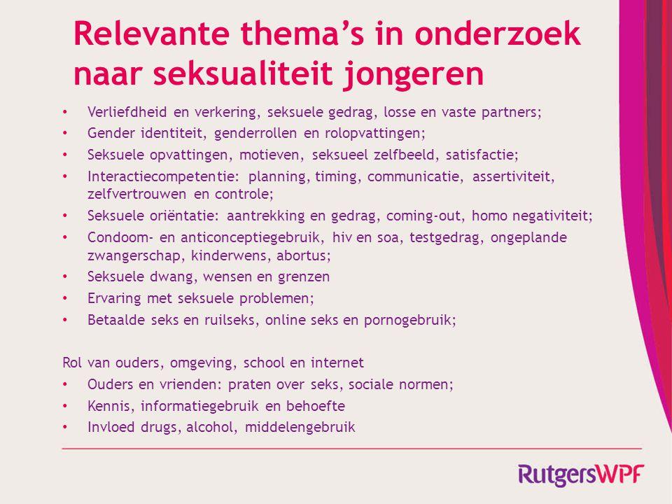 Relevante thema's in onderzoek naar seksualiteit jongeren Verliefdheid en verkering, seksuele gedrag, losse en vaste partners; Gender identiteit, gend