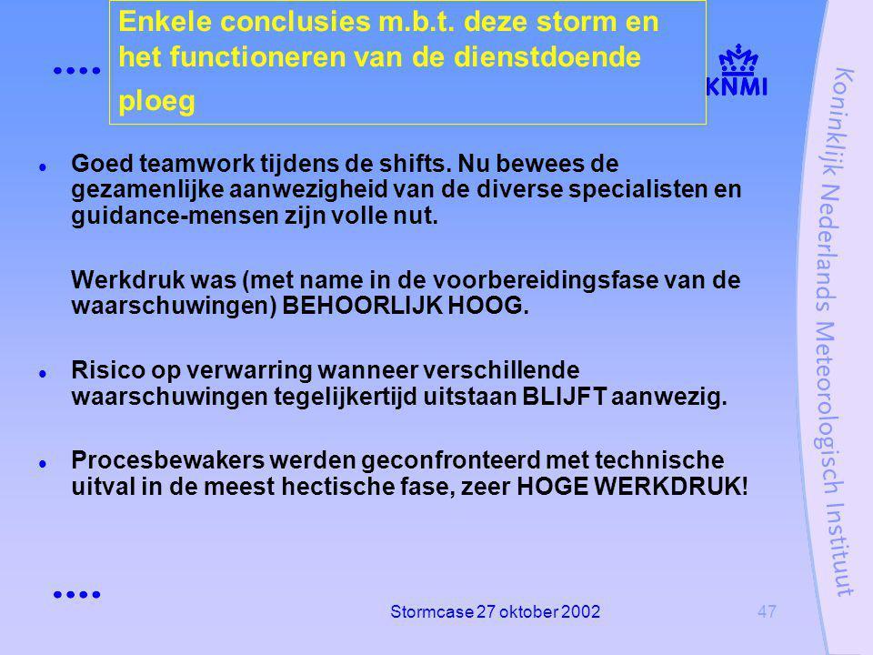 Stormcase 27 oktober 200247 Enkele conclusies m.b.t.