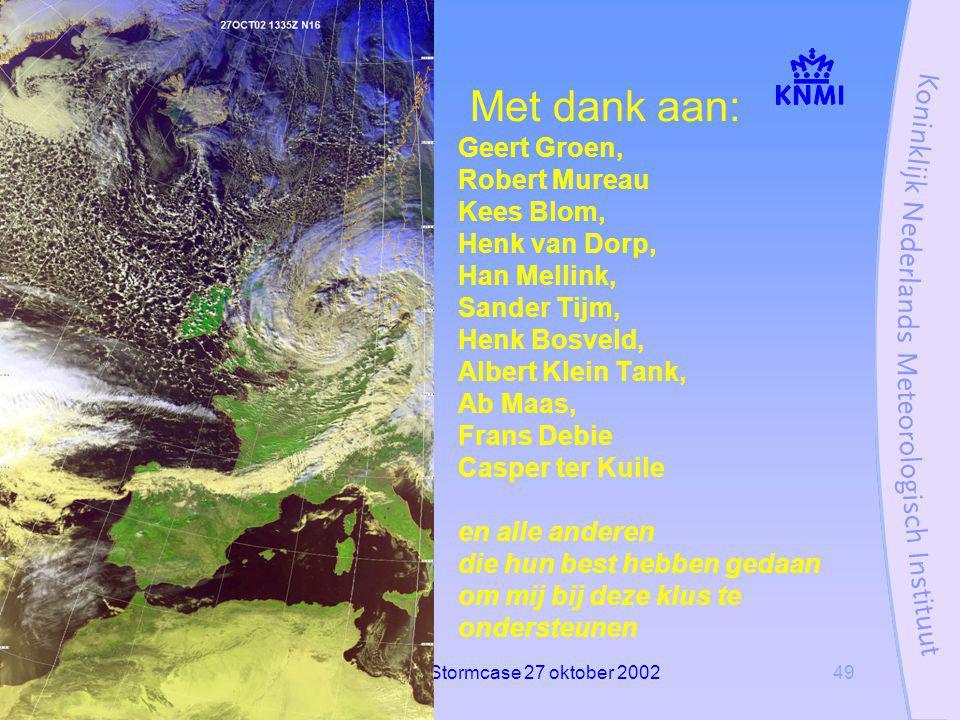 Stormcase 27 oktober 200249 Met dank aan: Geert Groen, Robert Mureau Kees Blom, Henk van Dorp, Han Mellink, Sander Tijm, Henk Bosveld, Albert Klein Tank, Ab Maas, Frans Debie Casper ter Kuile en alle anderen die hun best hebben gedaan om mij bij deze klus te ondersteunen
