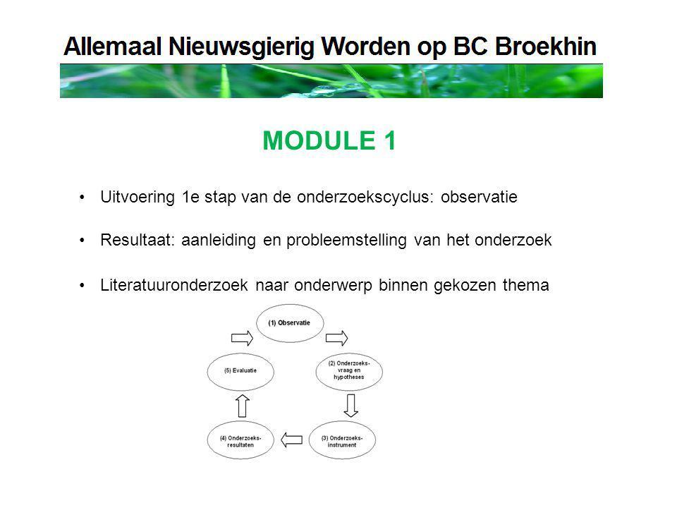 MODULE 1 Uitvoering 1e stap van de onderzoekscyclus: observatie Resultaat: aanleiding en probleemstelling van het onderzoek Literatuuronderzoek naar onderwerp binnen gekozen thema