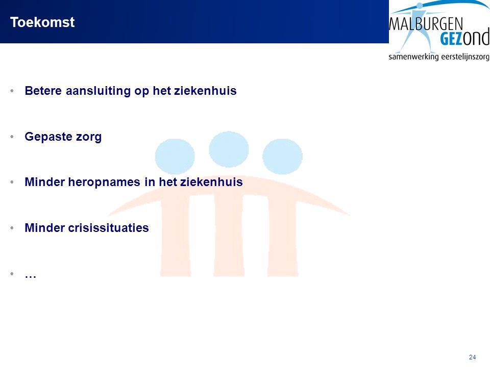 24 Toekomst Betere aansluiting op het ziekenhuis Gepaste zorg Minder heropnames in het ziekenhuis Minder crisissituaties …
