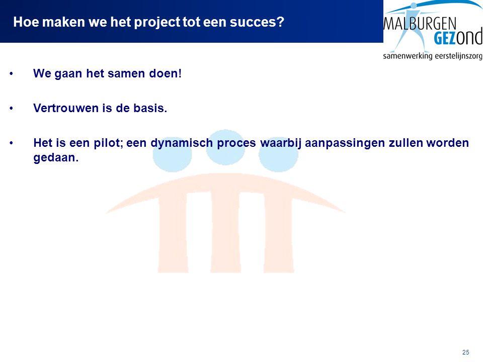 25 Hoe maken we het project tot een succes? We gaan het samen doen! Vertrouwen is de basis. Het is een pilot; een dynamisch proces waarbij aanpassinge