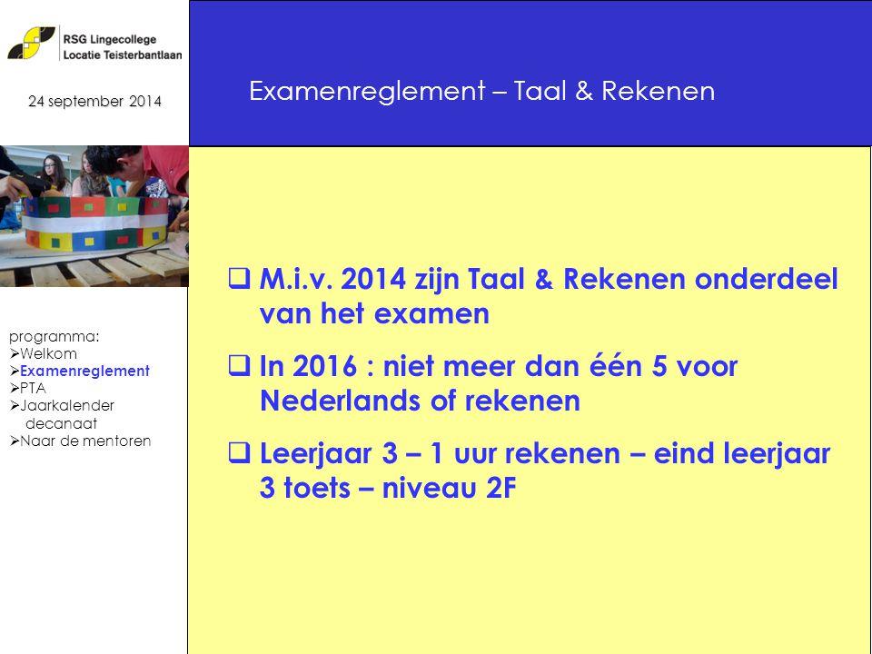 19 Examenreglement – Taal & Rekenen 24 september 2014  M.i.v.