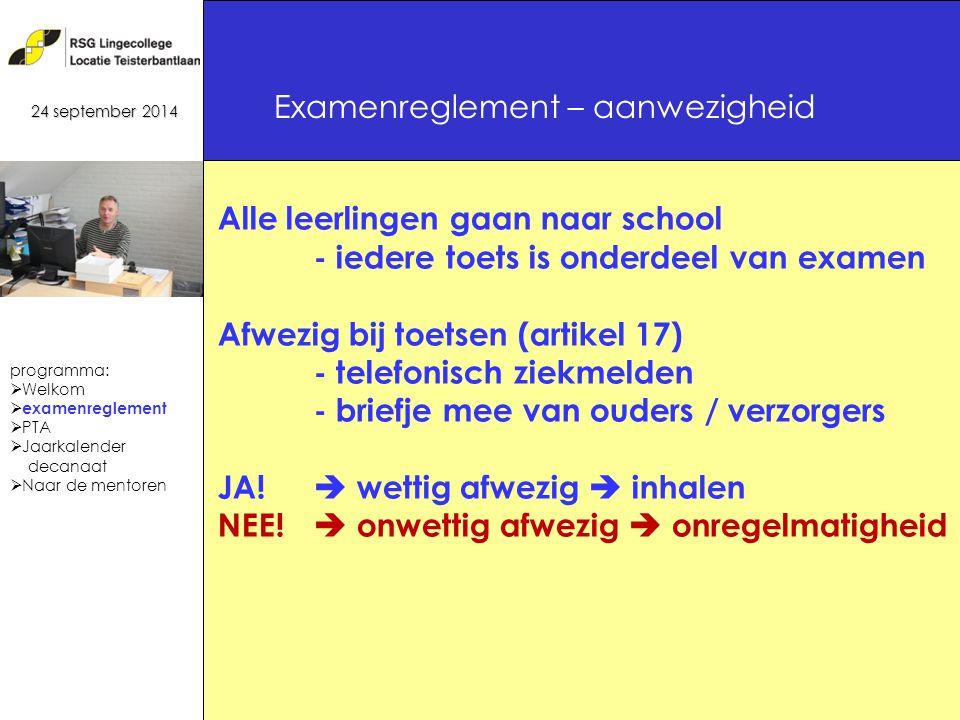 20 Alle leerlingen gaan naar school - iedere toets is onderdeel van examen Afwezig bij toetsen (artikel 17) - telefonisch ziekmelden - briefje mee van ouders / verzorgers JA.