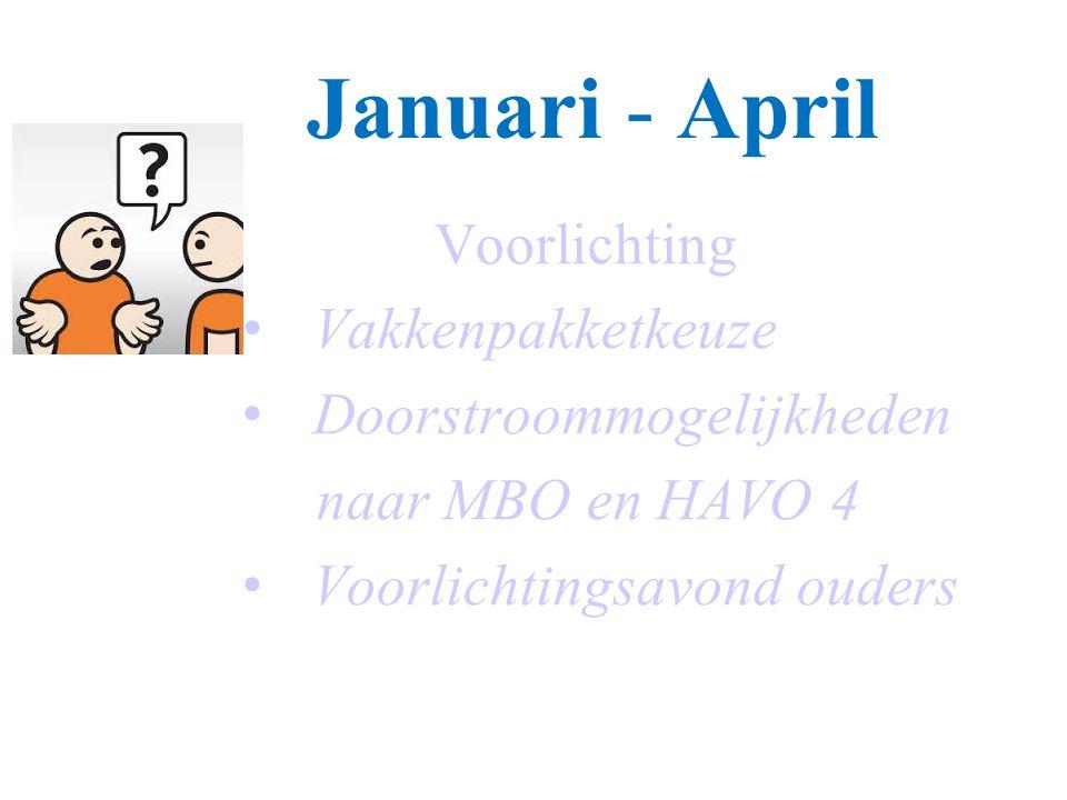 Januari - April Voorlichting Vakkenpakketkeuze Doorstroommogelijkheden naar MBO en HAVO 4 Voorlichtingsavond ouders