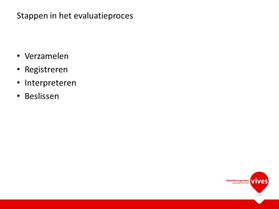 Stappen in het evaluatieproces Verzamelen Registreren Interpreteren Beslissen