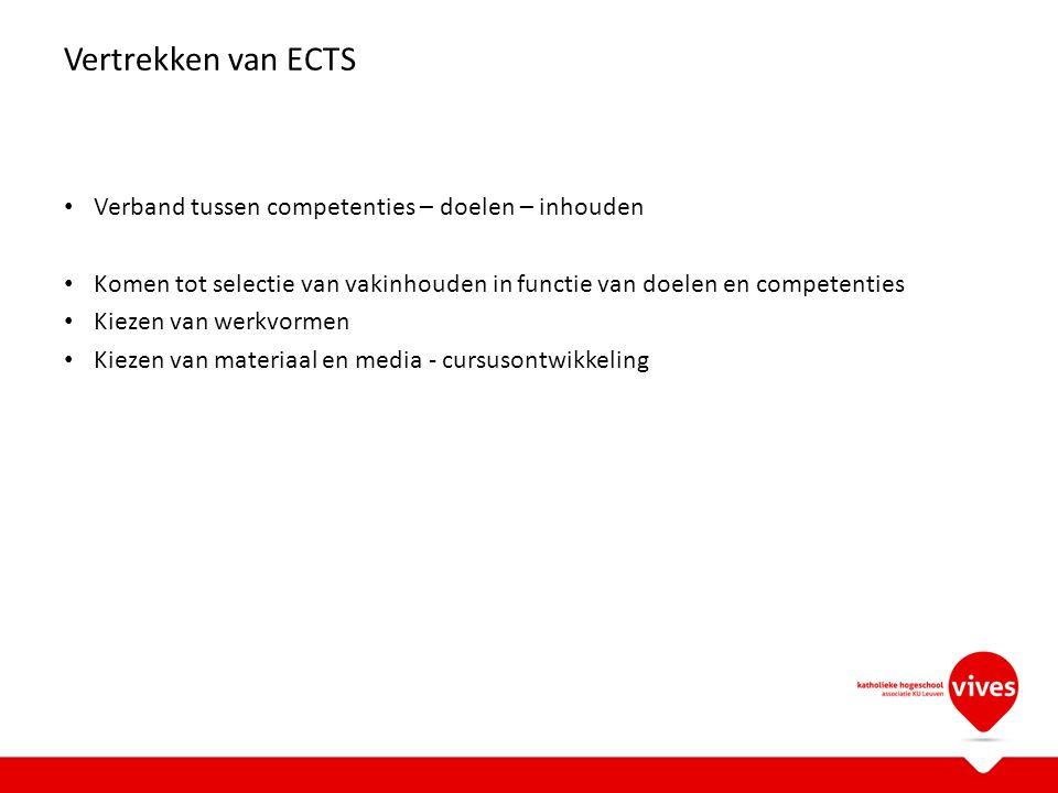 Vertrekken van ECTS Verband tussen competenties – doelen – inhouden Komen tot selectie van vakinhouden in functie van doelen en competenties Kiezen van werkvormen Kiezen van materiaal en media - cursusontwikkeling