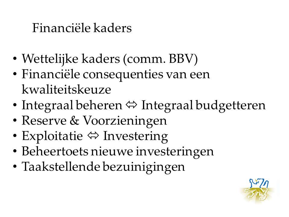 Wettelijke kaders (comm. BBV) Financiële consequenties van een kwaliteitskeuze Integraal beheren  Integraal budgetteren Reserve & Voorzieningen Explo