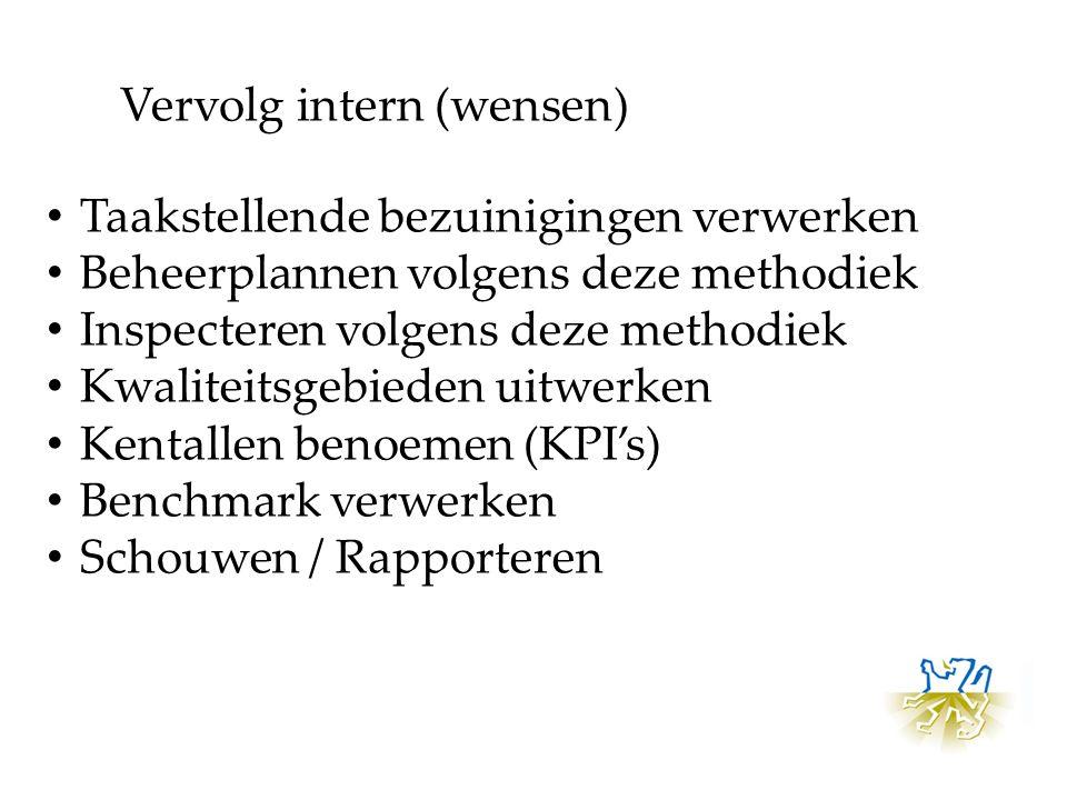 Taakstellende bezuinigingen verwerken Beheerplannen volgens deze methodiek Inspecteren volgens deze methodiek Kwaliteitsgebieden uitwerken Kentallen benoemen (KPI's) Benchmark verwerken Schouwen / Rapporteren Vervolg intern (wensen)