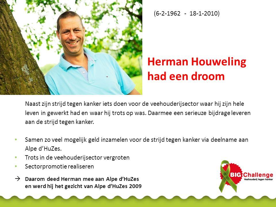 Herman Houweling had een droom Naast zijn strijd tegen kanker iets doen voor de veehouderijsector waar hij zijn hele leven in gewerkt had en waar hij