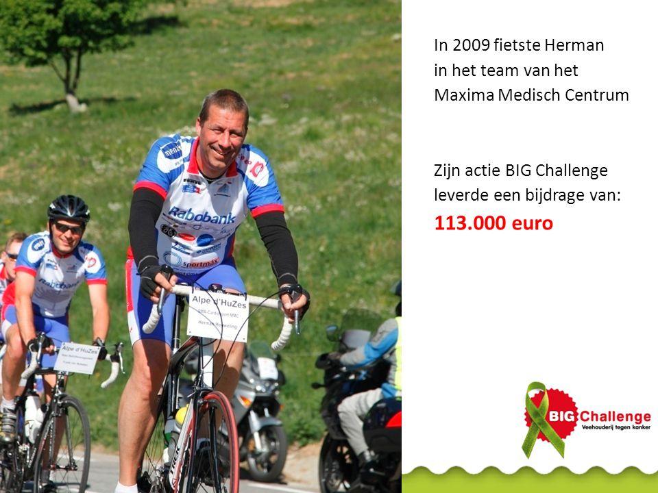 In 2009 fietste Herman in het team van het Maxima Medisch Centrum Zijn actie BIG Challenge leverde een bijdrage van: 113.000 euro