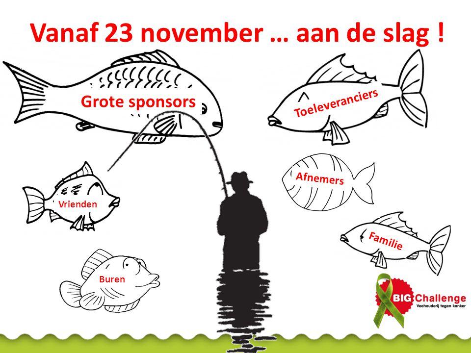 Vanaf 23 november … aan de slag ! Familie Afnemers Grote sponsors Toeleveranciers Buren Vrienden