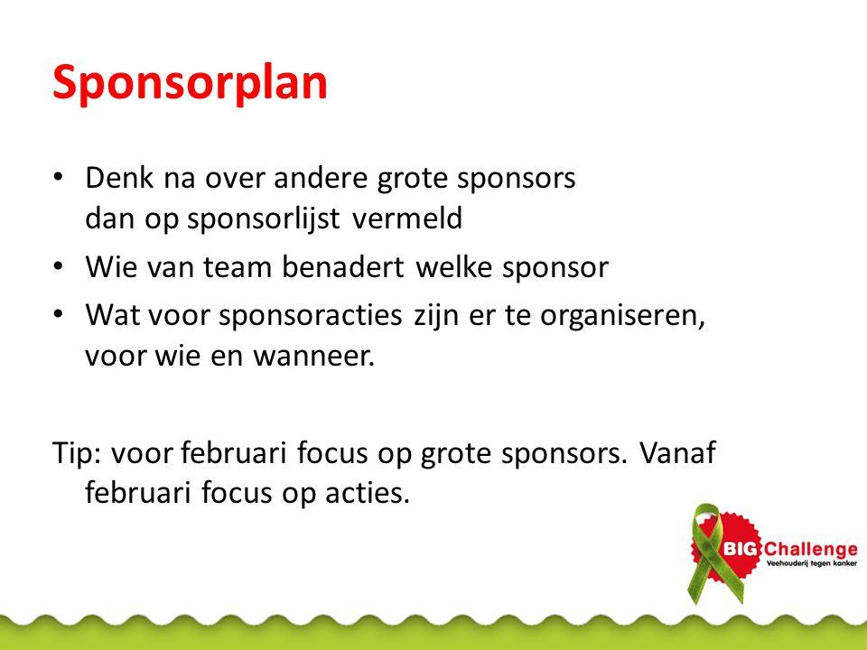 Sponsorplan Denk na over andere grote sponsors dan op sponsorlijst vermeld Wie van team benadert welke sponsor Wat voor sponsoracties zijn er te organ