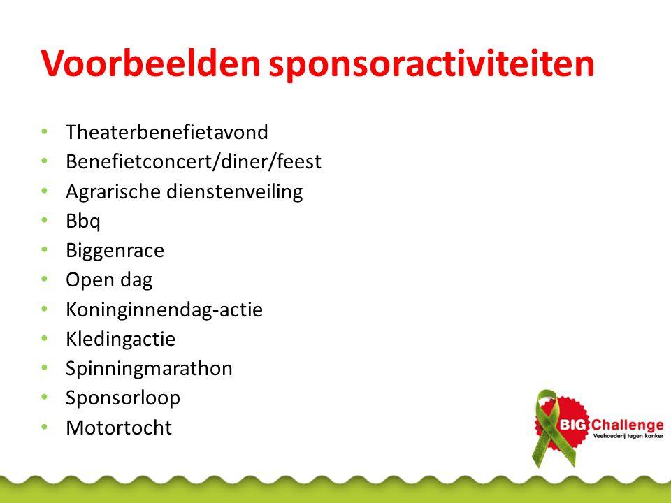 Voorbeelden sponsoractiviteiten Theaterbenefietavond Benefietconcert/diner/feest Agrarische dienstenveiling Bbq Biggenrace Open dag Koninginnendag-act