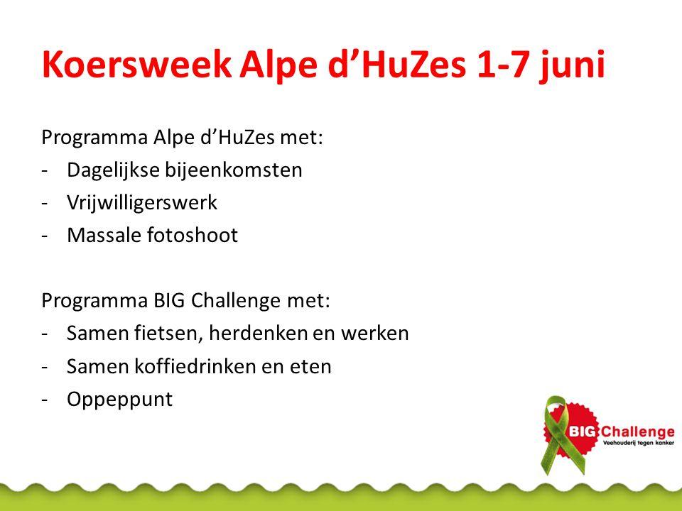 Koersweek Alpe d'HuZes 1-7 juni Programma Alpe d'HuZes met: -Dagelijkse bijeenkomsten -Vrijwilligerswerk -Massale fotoshoot Programma BIG Challenge me