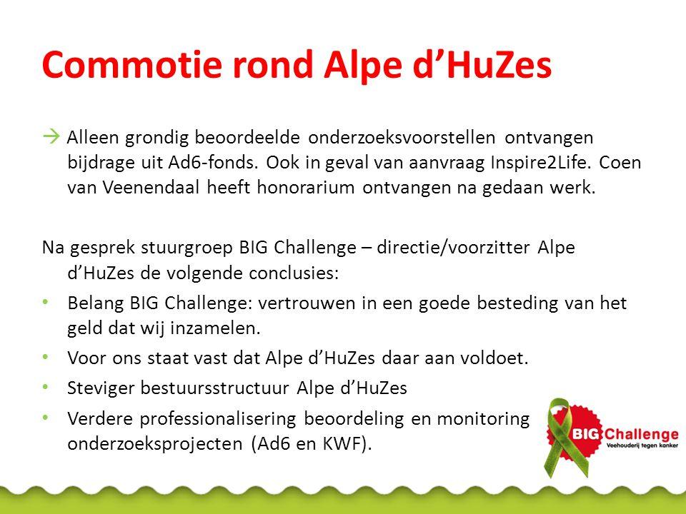 Commotie rond Alpe d'HuZes  Alleen grondig beoordeelde onderzoeksvoorstellen ontvangen bijdrage uit Ad6-fonds. Ook in geval van aanvraag Inspire2Life