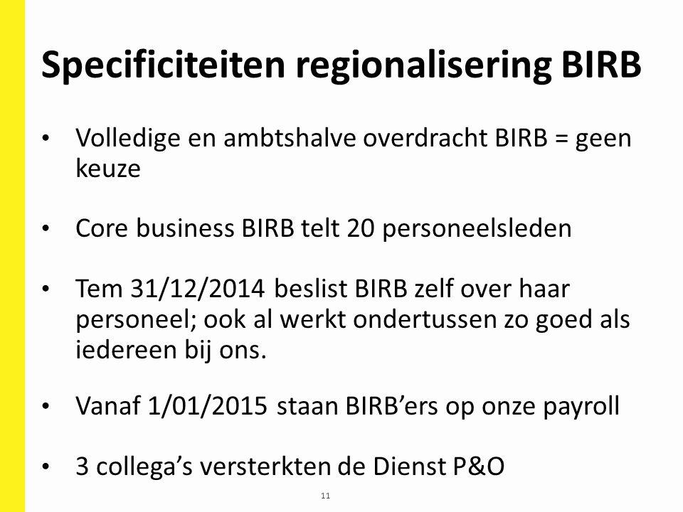 11 Specificiteiten regionalisering BIRB Volledige en ambtshalve overdracht BIRB = geen keuze Core business BIRB telt 20 personeelsleden Tem 31/12/2014