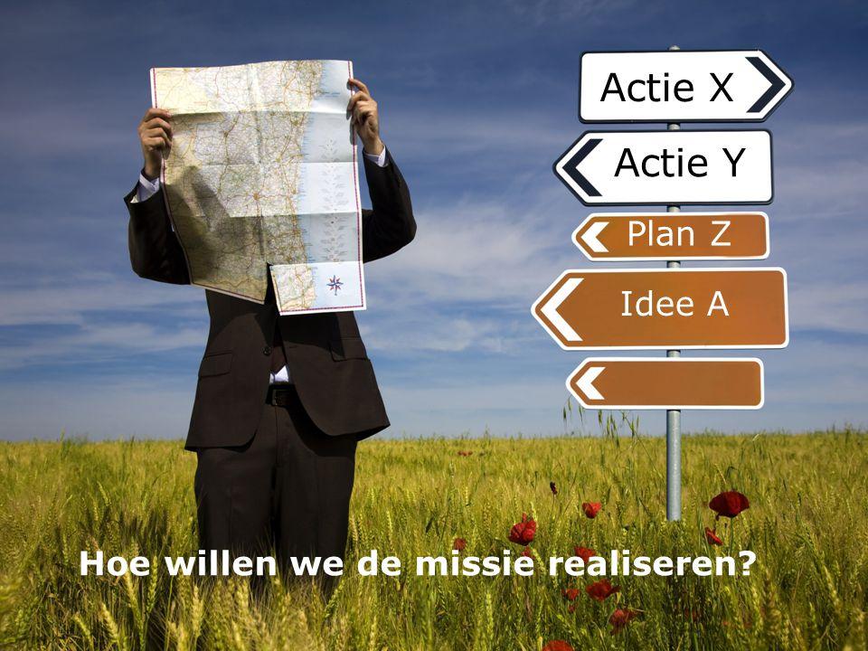 Actie X Actie Y Idee A Plan Z Hoe willen we de missie realiseren?