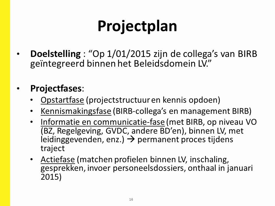 """16 Projectplan Doelstelling : """"Op 1/01/2015 zijn de collega's van BIRB geïntegreerd binnen het Beleidsdomein LV."""" Projectfases: Opstartfase (projectst"""