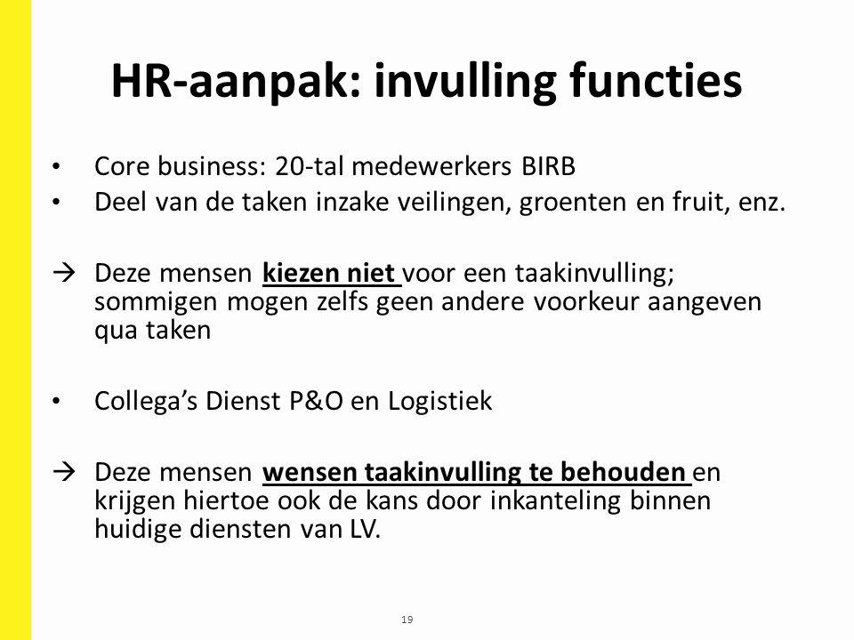 19 HR-aanpak: invulling functies Core business: 20-tal medewerkers BIRB Deel van de taken inzake veilingen, groenten en fruit, enz.  Deze mensen kiez