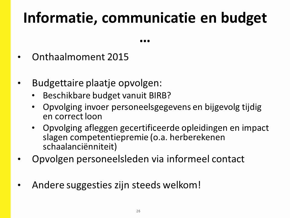 26 Informatie, communicatie en budget … Onthaalmoment 2015 Budgettaire plaatje opvolgen: Beschikbare budget vanuit BIRB? Opvolging invoer personeelsge