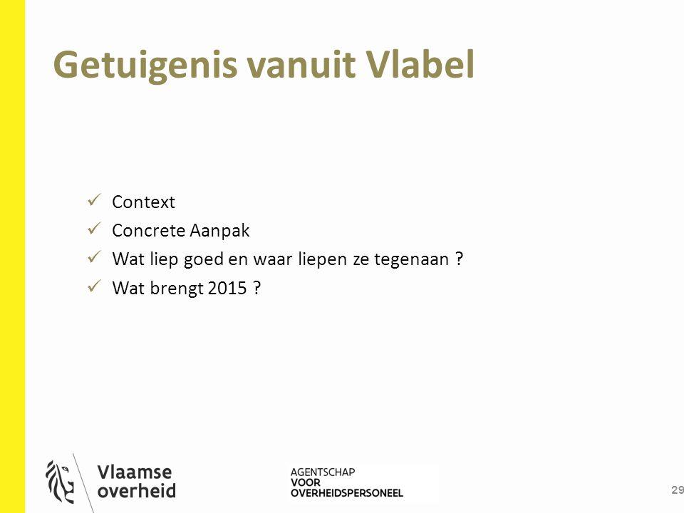 Getuigenis vanuit Vlabel 29 Context Concrete Aanpak Wat liep goed en waar liepen ze tegenaan ? Wat brengt 2015 ?