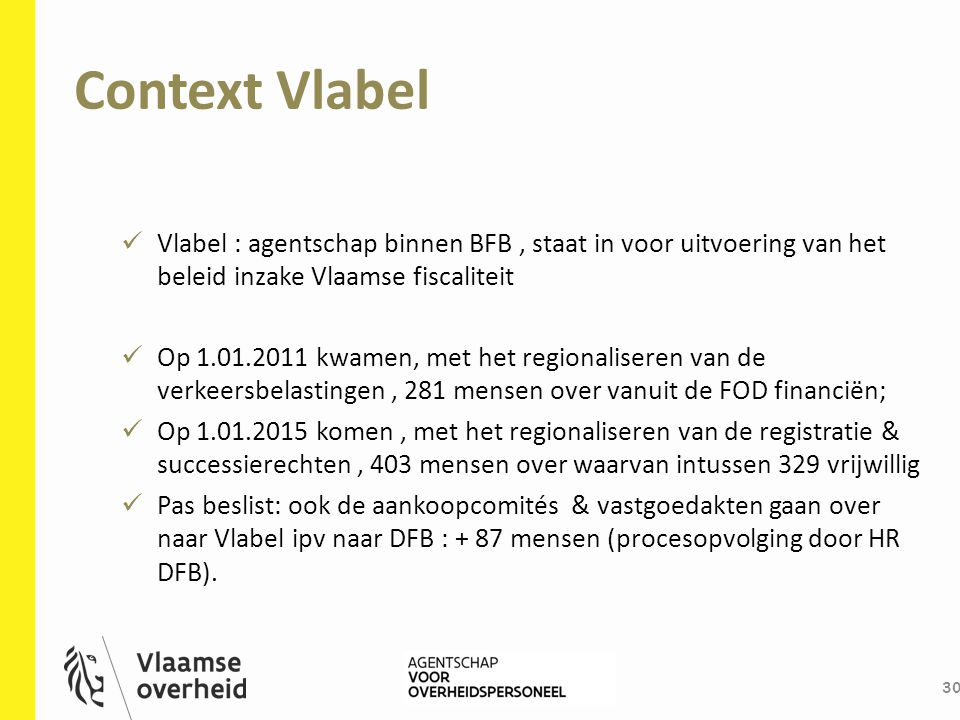 Context Vlabel 30 Vlabel : agentschap binnen BFB, staat in voor uitvoering van het beleid inzake Vlaamse fiscaliteit Op 1.01.2011 kwamen, met het regi