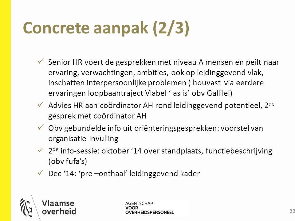 Concrete aanpak (2/3) 33 Senior HR voert de gesprekken met niveau A mensen en peilt naar ervaring, verwachtingen, ambities, ook op leidinggevend vlak,