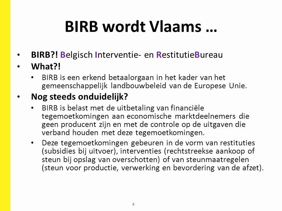 8 BIRB wordt Vlaams … BIRB?! Belgisch Interventie- en RestitutieBureau What?! BIRB is een erkend betaalorgaan in het kader van het gemeenschappelijk l
