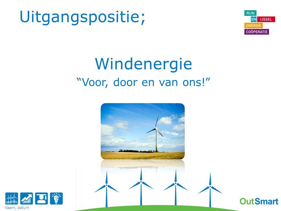 Opinie Nederlandse burger Slechts 13% tegen windenergie Algemene randvoorwaarden: Goed dat ze er komen, maar graag passend in de omgeving. Ik wil er zelf ook profijt van hebben. Ze moeten niet alleen over ons, maar ook met ons praten. Daarom informatie, transparantie en actieve deelname Naam, datum