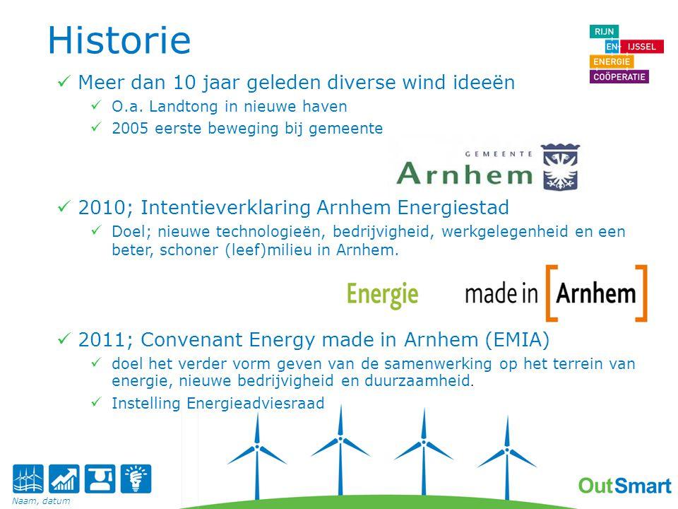 Historie 2011; Eerste aanzet energie coöperatie 2011; Presentatie Quickscan Bureau Waardenburg BV effecten op natuur van windpark in gemeente Arnhem.