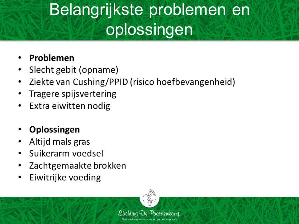 Belangrijkste problemen en oplossingen Problemen Slecht gebit (opname) Ziekte van Cushing/PPID (risico hoefbevangenheid) Tragere spijsvertering Extra