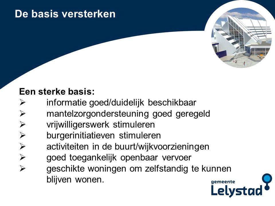 PowerPoint presentatie Lelystad Ondersteuning vanuit Wmo  Ondersteuning thuis: individuele begeleiding huishoudelijke hulp  Specifieke ondersteuning: dagactiviteiten/dagbesteding logeervoorzieningen/respijthuis woningaanpassingen scootmobiel/rolstoel regiotaxi