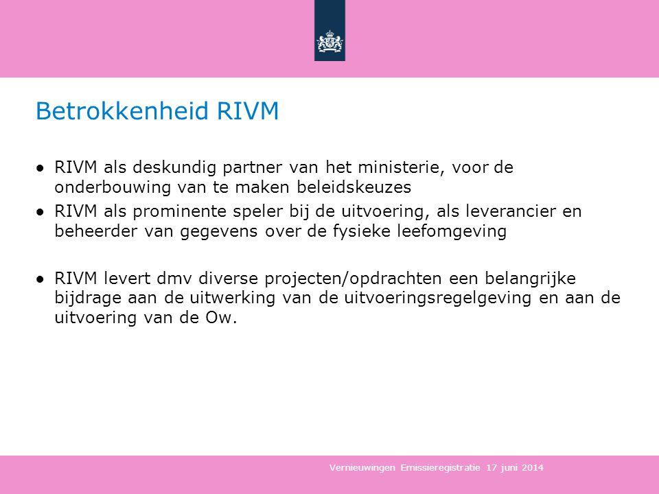 Betrokkenheid RIVM ●RIVM als deskundig partner van het ministerie, voor de onderbouwing van te maken beleidskeuzes ●RIVM als prominente speler bij de uitvoering, als leverancier en beheerder van gegevens over de fysieke leefomgeving ●RIVM levert dmv diverse projecten/opdrachten een belangrijke bijdrage aan de uitwerking van de uitvoeringsregelgeving en aan de uitvoering van de Ow.