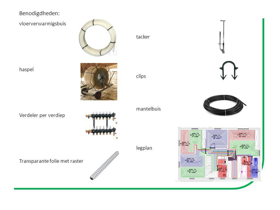 Benodigdheden: vloerverwarmigsbuis haspel Verdeler per verdiep Transparante folie met raster tacker clips mantelbuis legplan