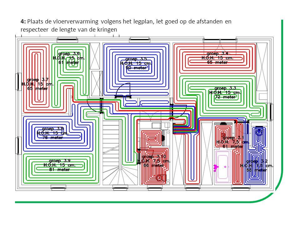 4: Plaats de vloerverwarming volgens het legplan, let goed op de afstanden en respecteer de lengte van de kringen Exemple de plan