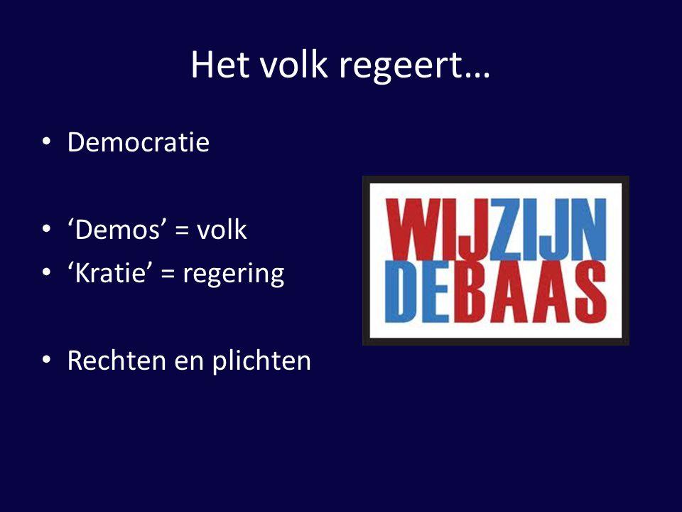 Het volk regeert… Democratie 'Demos' = volk 'Kratie' = regering Rechten en plichten