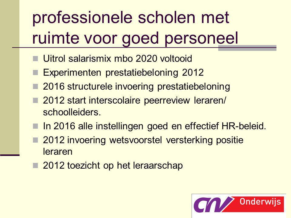 professionele scholen met ruimte voor goed personeel Uitrol salarismix mbo 2020 voltooid Experimenten prestatiebeloning 2012 2016 structurele invoerin
