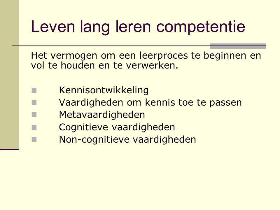 Leven lang leren competentie Het vermogen om een leerproces te beginnen en vol te houden en te verwerken. Kennisontwikkeling Vaardigheden om kennis to