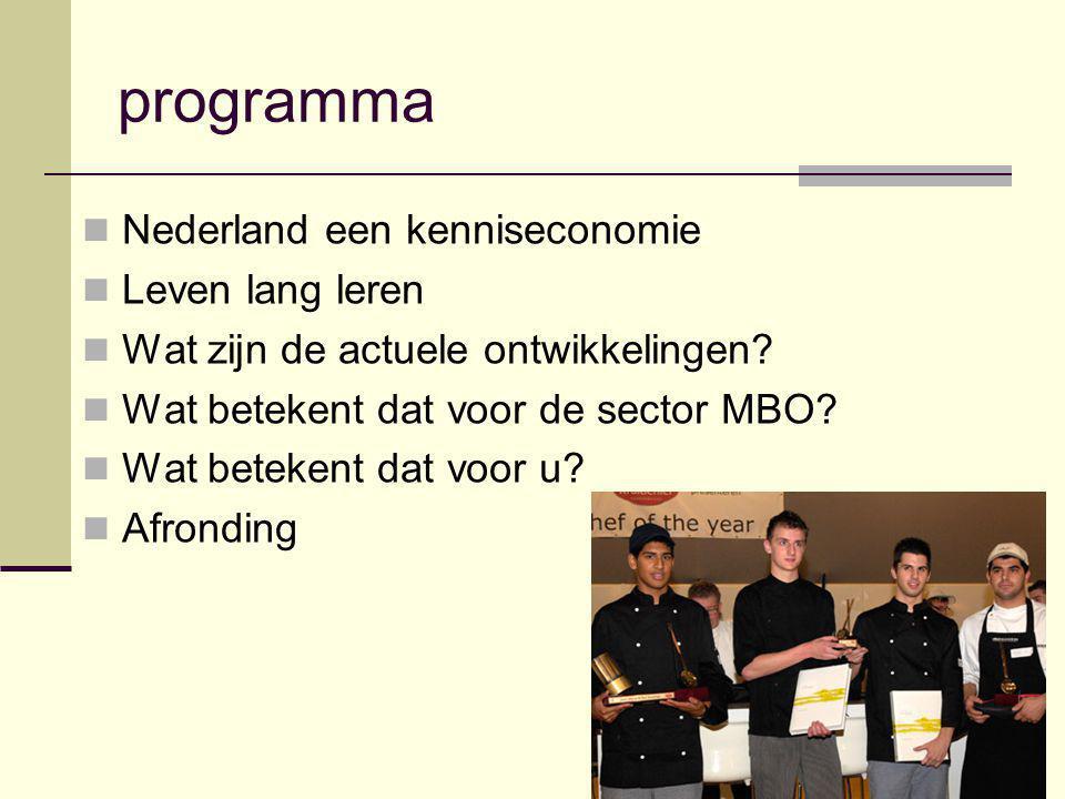 programma Nederland een kenniseconomie Leven lang leren Wat zijn de actuele ontwikkelingen? Wat betekent dat voor de sector MBO? Wat betekent dat voor