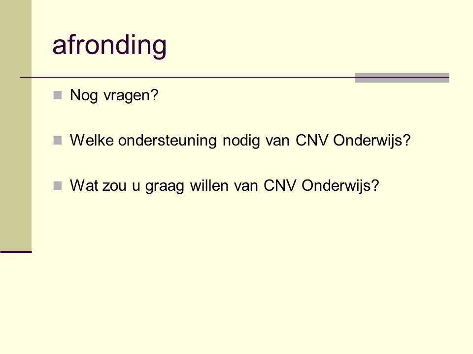 afronding Nog vragen? Welke ondersteuning nodig van CNV Onderwijs? Wat zou u graag willen van CNV Onderwijs?