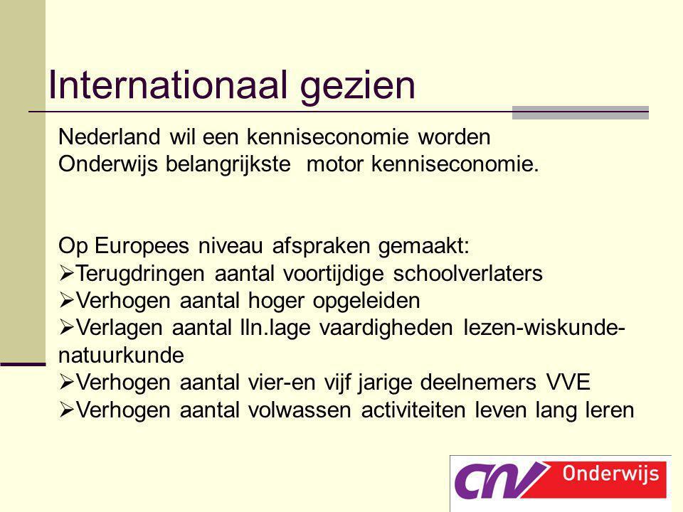 Nederland wil een kenniseconomie worden Onderwijs belangrijkste motor kenniseconomie. Op Europees niveau afspraken gemaakt:  Terugdringen aantal voor
