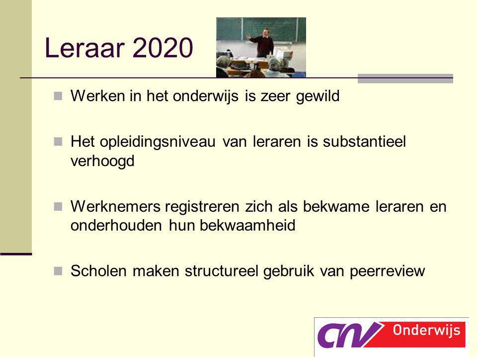 Leraar 2020 Werken in het onderwijs is zeer gewild Het opleidingsniveau van leraren is substantieel verhoogd Werknemers registreren zich als bekwame l